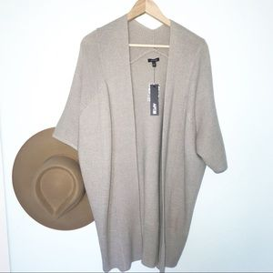Apt 9 taupe acrylic 3/4 sleeve open front sweater